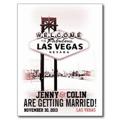 Vintage Romantic Las Vegas Photo Save The Date Post Card