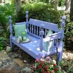 Garden bench from bed frame. I have a wooden frame pretty close to this one, can't wait to try it.