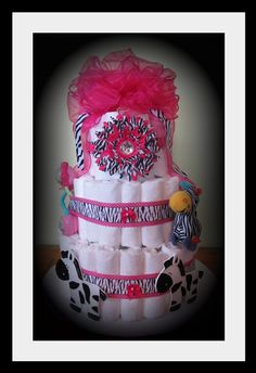 Zebra Print Baby Girl Diaper CakePerfect For Safari by LilysCakery, $75.00