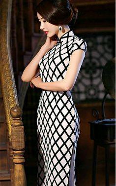 97678bc7d04 Black and white silk cheongsam traditional mandarin collar Chinese dress  TangZhiMeng