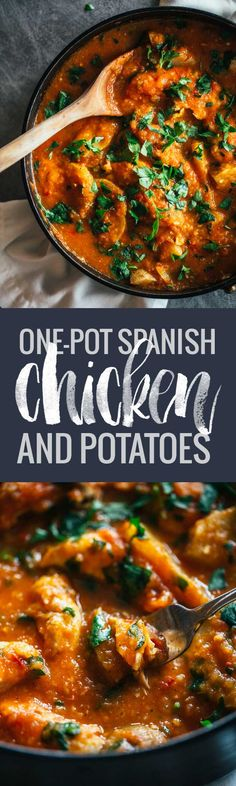 One Pot Spanish Chicken and Potatoes - a vibrant, comforting meal with simple flavors. One Pot Spanish Chicken and Potatoes - a vibrant, comforting meal with simple flavors. Spanish Chicken And Potatoes Recipe, Paleo Lemon Chicken, Chicken Potatoes, Cheesy Potatoes, Spanish Dishes, Spanish Food, Spanish Recipes, Spanish Cuisine, Spanish Paella