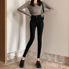Buy Women's Jeans Regular Patchwork OL&Feminine OL Casual Cotton Blends High Waist & Jeans - at Jolly Chic Semi Casual Outfit, Casual Outfits, Cute Outfits, Fashion Outfits, Skinny Girl Body, Skinny Girls, Bad Girl Outfits, Sport Outfits, Korean Jeans