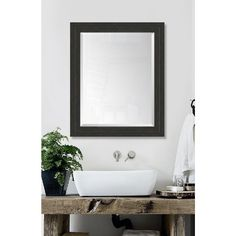 28 in. x 34 in. Framed Slate Black and Slate Black Mirror