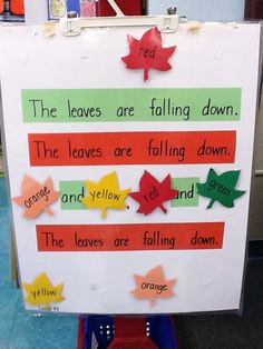 The Leave Are Falling Down Chart - Great to use with Emergent Reader: Leaves http://www.teacherspayteachers.com/Product/Emergent-Reader-Leaves-1446005