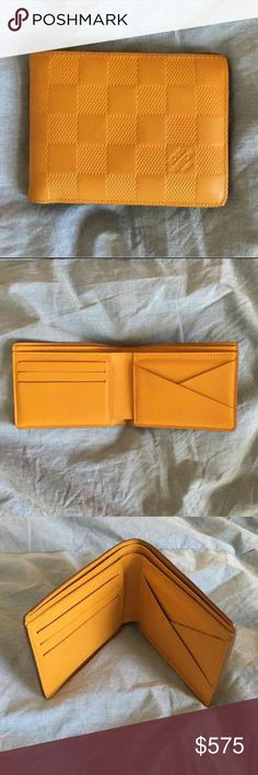 Yellow Leather LV Men's Fold Wallet Fashion-forward, rich yellow men's Louis Vuitton wallet was bought in late 2014. However, I have actually utilized it maybe 3 times. It is beautiful condition, and the leather still smells of authenticity. Louis Vuitton Bags Wallets