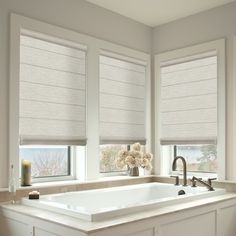 Roman shades for windows: 20 best bathroom window treatments images on pint Blinds For Bathroom Windows, Bathroom Window Coverings, Small Bathroom Window, Bath Window, Curtains With Blinds, White Bathroom, Small Bathrooms, Farmhouse Roman Shades, Shades Blinds