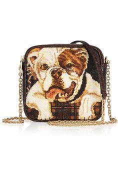 Dolce & GabbanaBulldog tapestry and python shoulder bag