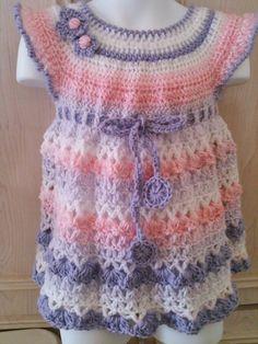 Crochet baby dress with matching headband por FAYSFABULOUSCROCHET, $35,00