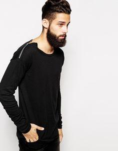 ASOS Longline Crew Neck Sweater with Shoulder Zip