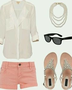 White shirt, pearl necklace, sunglasses, pink shorts and sandals for ladies