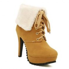 Pretty Women's Short Boots With Lace-Up and Faux Fur Design