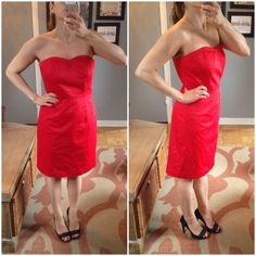 Red strapless dress This is such a beautiful dress! Strapless and cones with black skinny belt. It's a size 8 according to HM, but if you ever ordered from them you know their sizes are crazy! It fits like a size 4 or a small. H&M Dresses Strapless