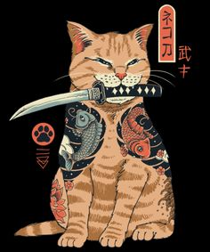 Qwertee : Limited Edition Cheap Daily T Shirts | Gone in 24 Hours | T-shirt Only £9/€11/$12 | Cool Graphic Funny Tee Shirts Japanese Artwork, Japanese Tattoo Art, Dessin Old School, Arte Punk, Samurai Artwork, Japon Illustration, Japan Art, Cat Tattoo, Aesthetic Art