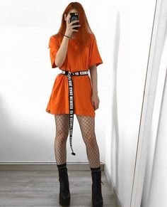 looks for who loves waist marked - Guita Moda. T-shirt orange dress, belt 15 looks for who loves waist marked - Guita Moda. T-shirt orange dress, belt . looks for who loves waist marked - Guita Moda. T-shirt orange dress, belt . Edgy Outfits, Korean Outfits, Summer Outfits, Fashion Outfits, Bad And Boujee Outfits, Orange Outfits, Fashion Tips, Fashion Trends, Hipster Outfits