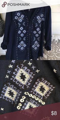 Navy top Navy with white needlepoint detailing, roll up sleeves w button. Button down front Style & Co Tops Tunics