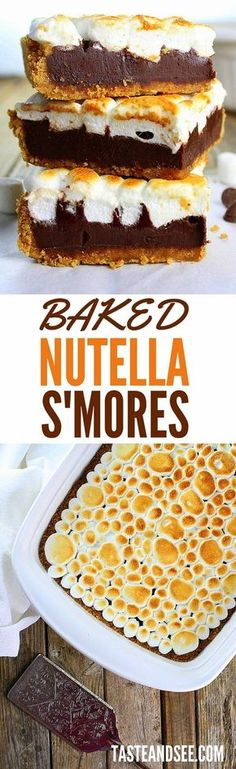 Baked Nutella S'mores - A fun and tasty alternative to brownies. Plus, baking provides all the wonderful flavors of s'mores without an open fire! With Dark chocolate, graham crackers, marshmallows, and Nutella. #smores http://tasteandsee.com