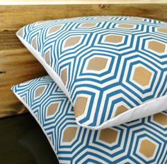 Pair of turquoise and gold geometric decorative pillows,  throw pillows on Etsy, $56.00