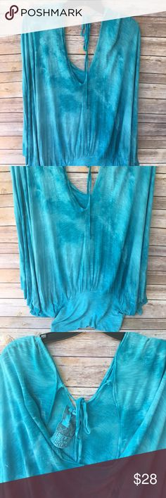 Young Fabulous & Broke top Tiedyed blue oversized top with 3/4 sleeves. Fitted at waist. Size states s/m Young Fabulous & Broke Tops