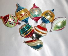 Vintage Glass Christmas Ornaments Poland Shiny Brite W. Germany