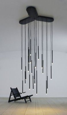 hanging strand lights chandelier