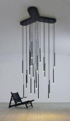 hanging strand lights chandelier