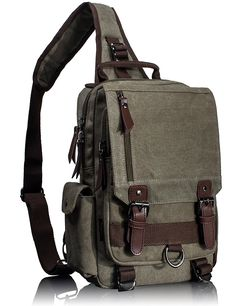 Leaper Canvas One Strap Sling Cross Body Messenger Bag Shoulder Backpack Rucksack (Large,Army Green)