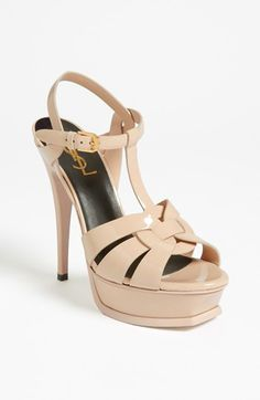 Saint Laurent 'Tribute' T-Strap Sandal available at #Nordstrom, $875 | One day…my dream sandal in Camel or Black color.