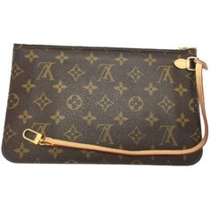 Pre-owned Louis Vuitton Neverfull Mm Or Gm Monogram Wristlet Wallet... (£245) ❤ liked on Polyvore featuring bags, handbags, clutches, none, brown leather pouch, louis vuitton pouch, brown purse, louis vuitton pochette and louis vuitton clutches