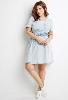 Stone Washed Denim Dress | Forever 21 PLUS - 2000096970