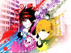 Death Note. I love it! So artistic! Aren't the colours wrong, though? I thought L's blue, whilst Light's red.