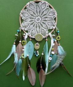 So pretty, going to try something like this sometime.   Dream Catcher  Doily  Unique  Modern  by DreamOfPhilanthropy, $64.00