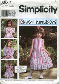 "Simplicity Daisy Kingdom Pattern 8632 Girls' Dress and Jacket, Matching 18"" Doll Clothes"
