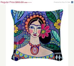 Frida Kahlo Pillow - Throw Pillow Mexican Folk Art by Heather Galler