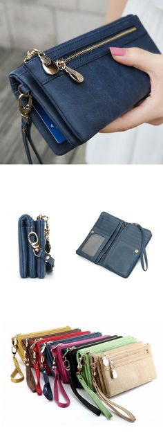 US$12.99+Free shipping, Women Wallets, Double Zipper Wallets, Polish PU Leather Wallet, Clutch Coin Purse. Large capacityInner Pocket:11 Card Slots,4 Cash Places,1 Inner Zipper Pocket,1 Photo Holder,1 Back Zipper Pocket.