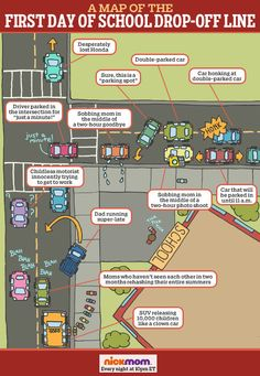You'll laugh over the tears, we promise! Actual Map of the First Day of School Drop-Off Line #parenting #humor