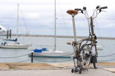 Brompton M6L-X. This is code for the bikes having upright handlebars, fenders, 6 speeds, and titanium extremities. The finish is raw lacquer. The tires are Schwalbe Kojaks. The bikes are fitted with SON/ Lumotec IQ Cyo dynamo lighting.