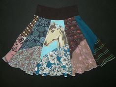 Cowgirl Hippie Twirly Skirt upcycled recycled t-shirt clothing from TWINKLE girls size 6 7 8. $40.00, via Etsy.