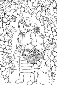 Waltzes For The Seasons PostCards Coloring Book By Kanoko Flower Coloring Pages, Coloring Book Pages, Coloring Sheets, Colouring, 2 Colours, Cool Drawings, Kids Playing, Embroidery Patterns, Cool Pictures