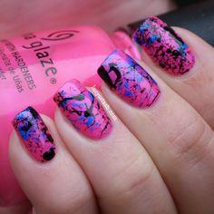 Hot pink splatter manicure