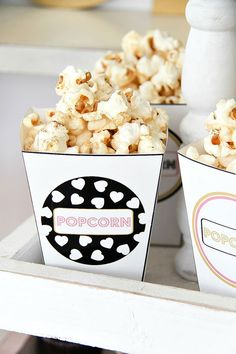 FREE printable popcorn boxes in 8 designs | Glam Mom's Night Out Cocktail Party