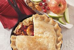Homemade Cranberry Apple Pie in a Skillet Recipe #pie #baking #dessert #homemade