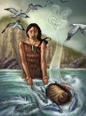 Illustration of Taranga putting baby Māui into the sea, as birds fly overhead Whale Rider, Polynesian People, Maori Art, Kiwiana, Career Education, Illustration Art, Illustrations, Art Forms, Maui