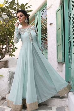 Traditional Fashion Wedding Suit Powder Blue Anarkali Dress Plus Size Wedding Suit Styles, Wedding Suits, Wedding Blue, Wedding Dresses, Indian Gowns, Indian Attire, Indian Long Dress, Pakistani Outfits, Indian Outfits
