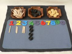 Maths Mat- using different objects for each would make this really good for figuring out whether you had counted it out right