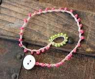 Crocheted Anklet / Bracelet Pink Green