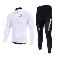 Men/Women White Long Sleeve Cycling Jersey Set with GEL Pad Quick Dry MTB Bicycle Clothing Team Pro Bike Tops Maillot Culotte