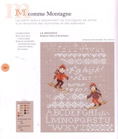 free cross stitch sampler alphabet and two children skiing