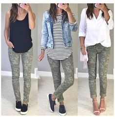 Camo Jeans Outfit, Camo Outfits, Legging Outfits, Mode Outfits, Casual Outfits, Fashion Outfits, Colored Jeans Outfits, Camo Fashion, Sporty Fashion