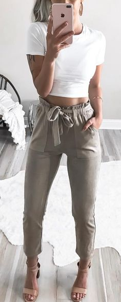 #summer #outfits  White Crop Tee + Olive Pants + Nude Sandals