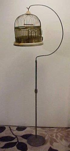 Victorian Antique Vintage Brass & Steel Bird Cage Owl Motif w/Stand F Chicago!